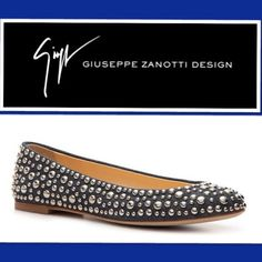 "Giuseppe Zanotti(AUTHENTIC) (AUTHENTIC)(FLATS) With An Exemplary Display Of High Quality,,, ""GIUSEPPE ZANOTTI"" Footwear,,, Embodies Creativity And Style,,, More Than Just Your Average Flat,,, This Shoe is Sure To Liven-Up Your Look,,, Color Navy Denim Fabric Upper,,, Round Toe,,, All Over Studded Detail,,, Fully Lined In Leather,,, Leather Sole & Made In ITALY Giuseppe Zanotti Shoes"