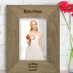 Engraved Rustic Photo Frame - Matron of Honour