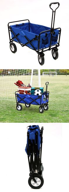 Fishing Carts and Wagons 179993: Mac Sports Folding Outdoor Utility Wagon Blue Lg Tires 2Cupholder Haul 2 Beach -> BUY IT NOW ONLY: $89.99 on eBay!