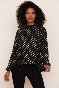 Our Candle Light metallic polka dot top can easily take you from day to night. Details include flowy silhouette, ruffle neckline and full-length blouson sleeves. Fall Collections, Polka Dot Top, Ruffles, Bell Sleeve Top, Candles, Hot, Model, How To Wear, Night