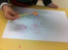 3D shapes - sphere painting w/ bubbles & food colouring
