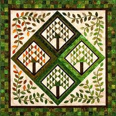 "Here is a beautiful ""Four Seasons"" quilt by Laura Blanchard of Plum Tree Quilts. This x quilt gives us a new appreciation for the. Tree Quilt Pattern, Quilt Patterns, Block Patterns, Quilting Projects, Quilting Designs, Quilting Ideas, Quilt Design, Art Projects, Sewing Projects"