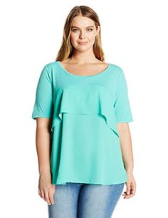 NY Collection Womens Plus Size Solid Elbow Sleeve Curved Hem Top with Front Yoike Ruffle Turq Mixcomno 1X *** You can get more details by clicking on the image.-It is an affiliate link to Amazon.