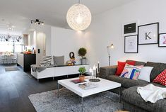 modern, white furniture, gray couch, color pillows