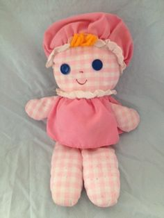 Vintage Fisher Price Lolly Rattle Baby Doll 1975 Pink and White Gingham