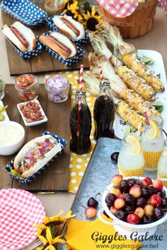 Fire up the grill and host a Hot Dog Bar for easy summer entertaining. All you need are some tasty toppings, savory side dish and ice cold drinks. #summerparty #ad #hotdogbar #partyideas #partyfood #bbq