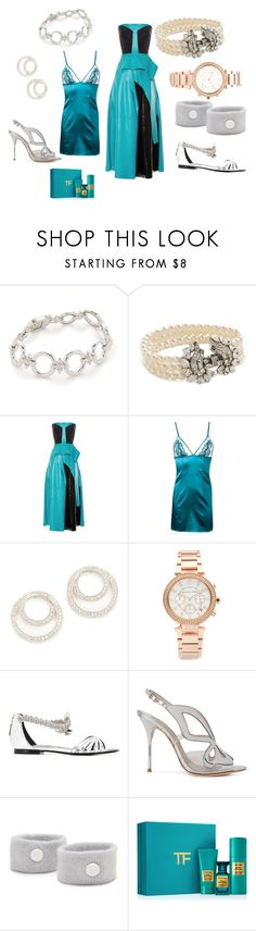 """My fashion blue"" by jamuna-kaalla ❤ liked on Polyvore featuring Noir Jewelry, Ben-Amun, Roksanda, Fleur of England, Kenneth Jay Lane, Michael Kors, Roberto Cavalli, Sophia Webster, Flight 001 and Tom Ford"
