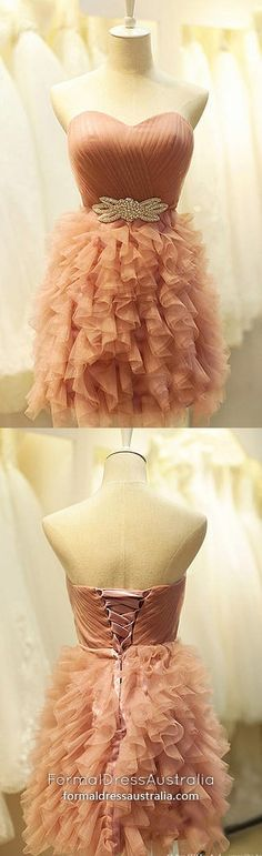 Pearl Pink Homecoming Dresses Ball Gown, Short Prom Dresses Tulle, Ruffles Little Black Dresses Tiered, Classy Sweet 16 Crystal Brooch Modest Formal Dresses, Vintage Formal Dresses, Dresses Short, Cheap Evening Dresses, Trendy Dresses, Cheap Graduation Dresses, Vintage Homecoming Dresses, Prom Dresses, Military Ball Dresses