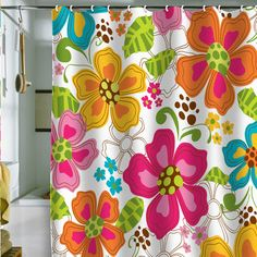Made from woven polyester, the Deny Designs Khristian A Howell Kaui Blooms Shower Curtain brings a little tropical flair into your bathroom. Flower Shower Curtain, Cool Shower Curtains, Teen Bathrooms, Bath Girls, Mid Century Modern Design, Home Decor Accessories, House Colors, Home Goods, Sweet Home