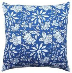 Blue Floral Indian Block Print Pillow  pillows