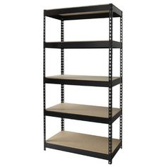 Lorell Riveted Steel Shelving Black 61620 - Sold as 1 EA. Shelving unit includes five shelves and holds a total capacity of lb. of evenly distributed weight with its heavy-duty, riveted steel construction. Steel Shelving Unit, Modular Shelving, Metal Shelves, Storage Shelves, Storage Spaces, Shelf, Garage Shelving, Shelving Units, Book Storage