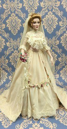 Emily Rose the Gibson girl bride doll. Franklin Mint porcelain 2004