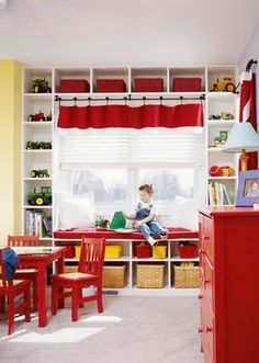 Beautiful & organized #playroom (curtains & shelf above & stick with a primary color - red)