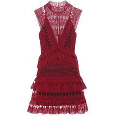 Self-Portrait Teardrop Guiepere Lace Dress ($415) ❤ liked on Polyvore featuring dresses, red, lace cocktail dress, lace dress, self portrait dress, lacy dress and red lace dress