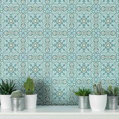 Antalya Tile Stencils for DIY Painted Tile - Easy Remodel - Just Stencil Your Tiles! Stencil Designs, Tile Stencils, Kitchen Backsplash, Kitchen Redo, Kitchen Remodel, Kitchen Ideas, Turquoise Tile, Tile Edge, Stenciled Floor