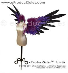 eProductSales 3 Color Gradient GWEN BJD Wings for Ball-Jointed Dolls