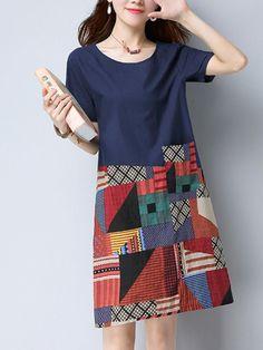 Fashionmia - Fashionmia Round Neck Printed Patch Pocket Shift Dress - AdoreWe.com