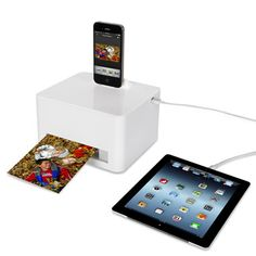 The Any Device Photo Printer - Hammacher Schlemmer. Don't know if it accepts lightning cable. Hammacher Schlemmer, Gadget Magazine, Portable Printer, Smartphone Printer, Ipad Stand, Photo Printer, Electronics Gadgets, Computer Gadgets, Computer Humor