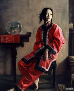 Chinese painter Li Wentao has a peculiar vibe; these portraits are stunning and quiet, moving and eerie. We came across the work months ago and compil. Tableaux Vivants, Chinese Contemporary Art, Art Chinois, Art Asiatique, China Art, Korean Art, Human Art, Cool Paintings, Chinese Painting