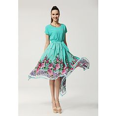 Women's Round Collar Floral Print Asymmetrical Hem Dress