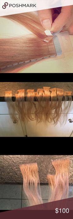 """Hotheads tape in hair extensions! 🔥🔥🔥 12"""" Hotheads human hair tape extensions (info online). Worn few times for weddings & my before & after pic is found @ https://instagram.com/p/BM-cJMQBgX8/. Gave me length /fullness. These extensions are installed @ salon, customized. I never cut them. You buy hair & stylist puts in & moves up every 6-8 weeks depending preference. First few pics show the 2 color sets... last few show exactly what you will get, colors, retail pricing etc... great way to…"""