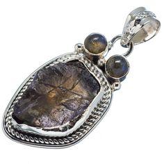 "Ana Silver Co Rough Tanzanite, Labradorite 925 Sterling Silver Pendant 1 3/4"" PD595680"