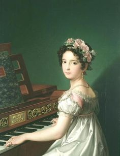 historicalfashion: My current favorite Regency era painting! Artist's Daughter, Manuela, Playing Piano by Zacarías González Velázquez, ca. 1820 (at Museo Lázaro Galdian, Madrid) Jane Austen, Piano Art, The Piano, Regency Dress, Regency Era, Recital, Kunst Online, Empire Style, Historical Clothing