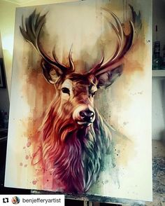 60 Excellent but Simple Acrylic Painting Ideas For Beginners, paintings acrylic wildlife art 60 Excellent but Simple Acrylic Painting Ideas For Beginners, Cross Paintings, Animal Paintings, Hirsch Illustration, Simple Acrylic Paintings, Acrylic Painting Animals, Acrylic Art, Deer Art, Stag Deer, Beginner Painting