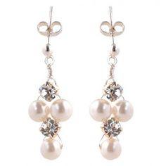 Lauren pearl and diamante wedding earrings in sterling silver
