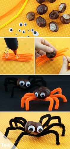 Spinne basteln - Ideen und Bastelvorlage - DIY-Ideen - Basteln und GestaltenMake Spider - Instructions and Ideas - Talu. Kids Crafts, Cheap Fall Crafts For Kids, Easy Fall Crafts, Diy Crafts To Do, Fall Diy, Creative Crafts, Diy For Kids, Summer Crafts, Easter Crafts