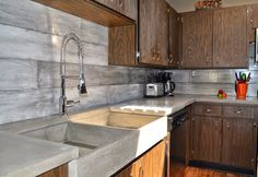 Concrete backsplash plank form apron farmers sink built in draining kitchen diy tile tiles countertops brick Cement Tile Backsplash, Herringbone Backsplash, Kitchen Wall Tiles, Concrete Tiles, Kitchen Backsplash, Backsplash Ideas, Black Backsplash, Hexagon Backsplash, Beadboard Backsplash