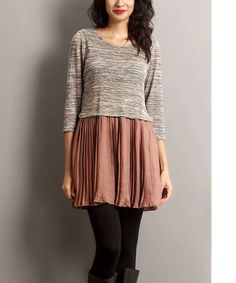 Look at this Oatmeal Mélange & Taupe Chiffon Tunic on #zulily today!