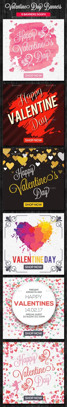 6 Valentines Day Banner Set — Photoshop PSD #Black Friday Banners #900x900 • Download ➝ https://graphicriver.net/item/6-valentines-day-banner-set/19268300?ref=pxcr