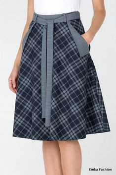 Plaid Skirt - Emka Fashion 407-illuzia - Malinka-fashion.ru