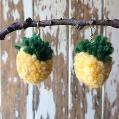 Pineapple Pompom Earrings! <3