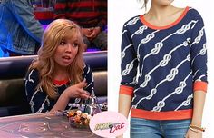 Sam Puckett (Jennette McCurdy) wears this Anthropologie 'Gabby' Blue Knot with Orange Trim Sweater in the episode of Sam & Cat, #OscarTheOuc...  ** Check out my website for the full post www.allaboutsamandcat.com