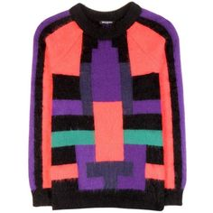 Balmain Angora-Blend Sweater (€595) ❤ liked on Polyvore featuring tops, sweaters, balmain, multicoloured, angora sweater, multi color tops, multi color sweater, colorful tops and purple top