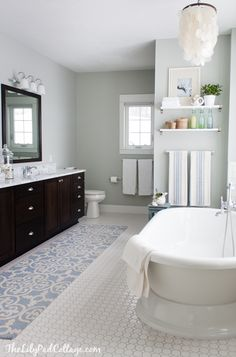 Coastal Bath Decor----so beautiful!!! Wall color: Arctic Grey, Benjamin Moore. Love everything about this room. Great job!