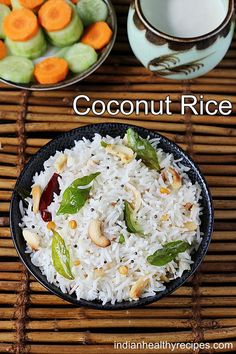 Coconut rice coconut rice or thengai sadam is a simple rice dish made with fresh grated coconut, tempering spices and rice. Coconut rice is made for festivals & occasions for a quick meal. North Indian Recipes, South Indian Food, Indian Food Recipes, Asian Recipes, Indian Foods, Beef Recipes For Dinner, Lunch Box Recipes, Vegetarian Recipes, Cooking Recipes