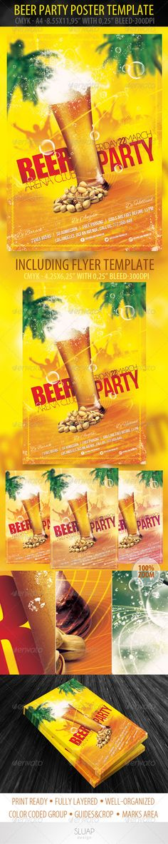 Beer Party Poster & Flyer Template — Photoshop PSD #event #disco • Available here → https://graphicriver.net/item/beer-party-poster-flyer-template/3951776?ref=pxcr