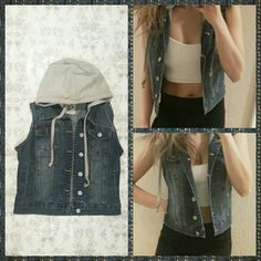 Denim Hoodie Lightly worn. In good condition. Material: 75% cotton, 23% polyester, 2% spandex. Jackets & Coats