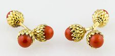 TIFFANY SCHLUMBERGER Rare 18K Gold Coral Double Acorn Cufflinks