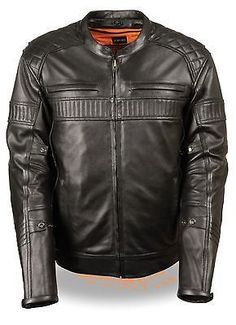 MEN'S MOTORCYCLE SCOOTER QUILTED PATTERN TRIPLE VENT WITH VENTS VERY SOFTLEATHER