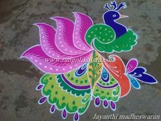 lovely peacock design in free hand style done by jayanthi madheswaran. Peacock Rangoli, Indian Rangoli, Kolam Rangoli, Flower Rangoli, Free Hand Rangoli Design, Rangoli Designs With Dots, Beautiful Rangoli Designs, Kolam Designs, Diwali Decorations