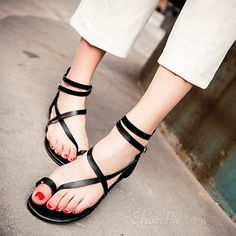 45c28c7edcc4 Shoespie Solid Color Gladiator Thong Flat Sandals Bare Foot Sandals