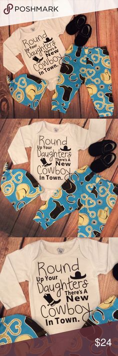 Boutique Baby ROUND UP YOUR DAUGHTERS 3pc Outfit Cute baby boy 3pc outfit with a western theme. White long sleeve onesie with black ROUND UP YOUR DAUGHTERS THERE'S A NEW COWBOY IN TOWN & western design to front. Blue western themed printed pants and knot beanie cap. Makes a great Baby shower gift too! Shoes are available on a separate listing. Thanks! Matching Sets