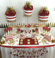 RED & GOLD Prince Candy Buffet Diaper Cake by PlatinumDiaperCakes