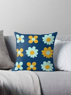 """Cheerful Flowers 7 in Mustard Yellow and Mint Aqua Teal on Navy Blue. Cute Minimalist Floral Pattern"" Throw Pillow by kierkegaard 