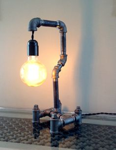 Black Iron Desk Lamp With Guard And Edison Bulb Pipe