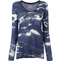 Majestic Filatures camouflage scoop neck jumper ($237) ❤ liked on Polyvore featuring tops, sweaters, blue, camouflage top, jumper top, scoop neck top, camo jumper and blue jumper